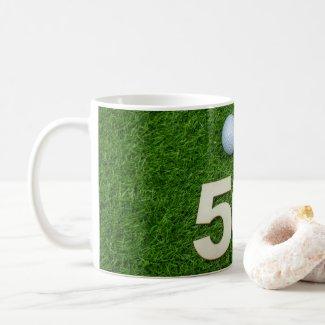 Golf 50th Birthday golf ball and tee on green Golf Coffee Mug
