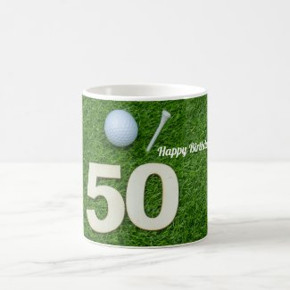 Golf 50th Birthday golf ball and tee on green Golf Coffee Mug