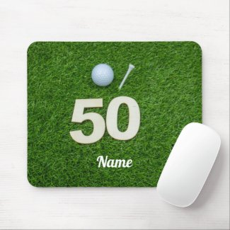 Golf 50th Birthday golf ball and tee on green Golf Mouse Pad