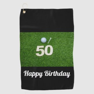 Golf 50th Birthday golf ball and tee on green Golf Towel