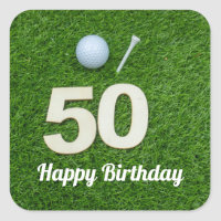 Golf 50th Birthday golf ball and tee on green Square Sticker