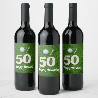 Golf 50th Birthday golf ball and tee on green Wine Label