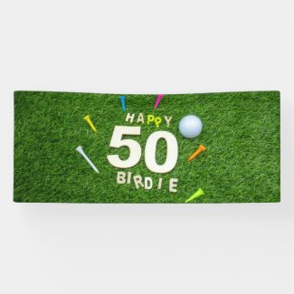 Golf 50th Birthday golfer with golf ball and tee Banner