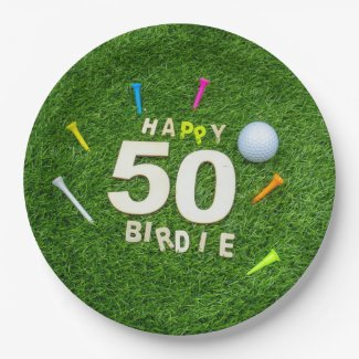 Golf 50th Birthday golfer with golf ball and tee Paper Plate