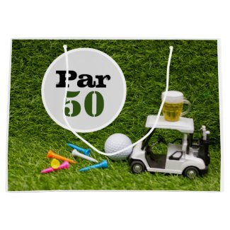 Golf 50th birthday with ball and beer with tees  large gift bag