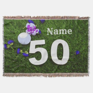 Golf 50th Birthday with golf ball and flower Golf Throw Blanket