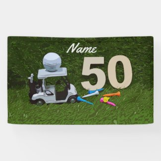 Golf 50th birthday with golf cart and tee on green banner