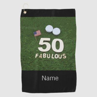 Golf 50th Fabulous golfer birthday & USA flag Golf Towel