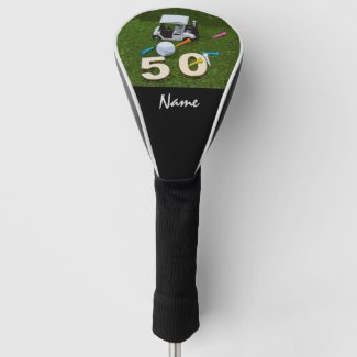 Golf 50th Golfer's Birthday with ball on green   Golf Head Cover