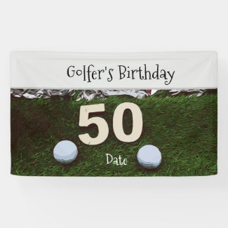 Golf 50th Golfer's Birthday with balls on green Banner