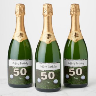 Golf 50th Golfer's Birthday with balls on green Champagne Label