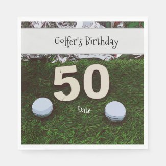 Golf 50th Golfer's Birthday with balls on green Napkins
