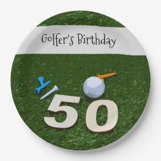 Golf 50th Golfer's Birthday with balls on green Pa Paper Plate