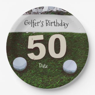 Golf 50th Golfer's Birthday with balls on green Paper Plate