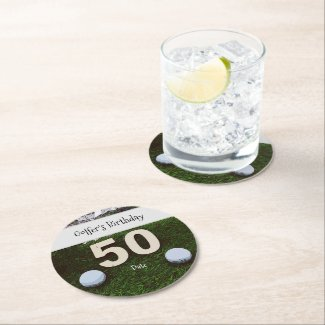 Golf 50th Golfer's Birthday with balls on green Round Paper Coaster