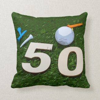 Golf 50th Golfer's Birthday with balls on green  Throw Pillow