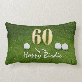 Golf 60th Birdie birthday golf ball on grass Lumbar Pillow