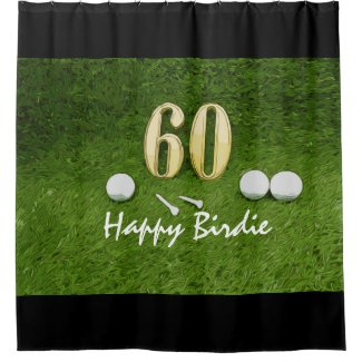 Golf 60th Birdie birthday golf ball on grass Shower Curtain