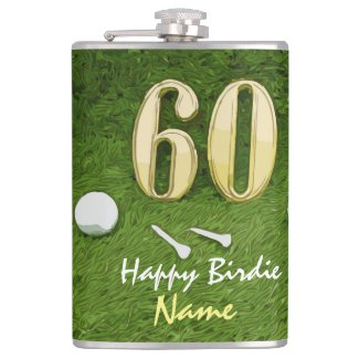 Golf 60th birthday Birdie Par tee for golfer Flask