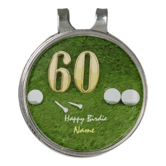 Golf 60th birthday Birdie Par tee for golfer Golf Hat Clip