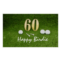 Golf 60th birthday Birdie Par tee for golfer golf Poster
