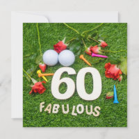 Golf 60th Birthday Card golf ball and tee & roses