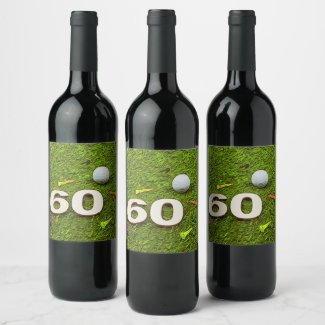 Golf 60th birthday Food and Beverage Label Set