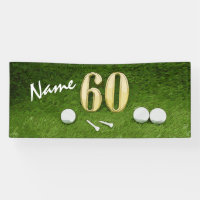 Golf 60th Birthday Golf ball and tee for Golfer Banner