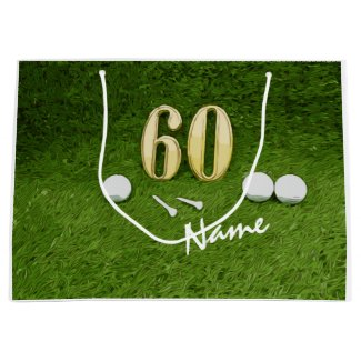 Golf 60th Birthday Golf ball and tee for Golfer Large Gift Bag