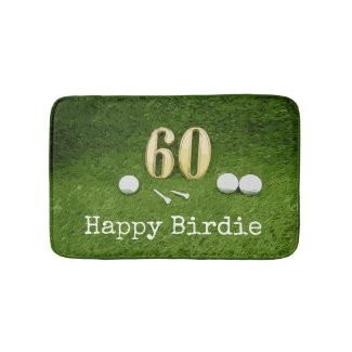 Golf 60th Birthday golf ball and tee on green Bath Mat