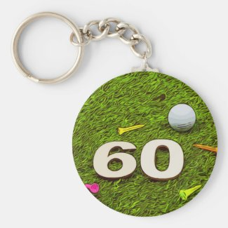 Golf 60th birthday golfer Button Keychain