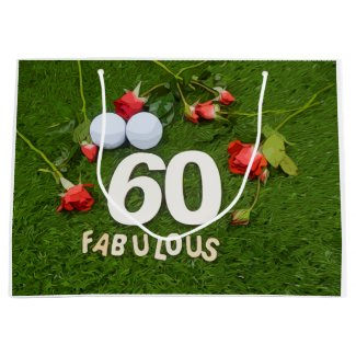 Golf 60th Birthday golfer with golf ball and roses Large Gift Bag