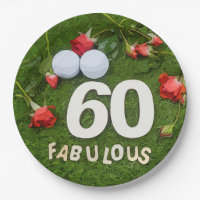 Golf 60th Birthday golfer with golf ball and roses Paper Plate