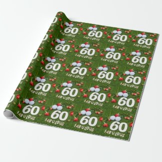 Golf 60th Birthday golfer with golf ball and roses Wrapping Paper