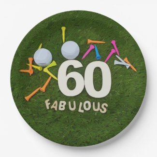 Golf 60th Birthday golfer with golf ball and tees Paper Plate