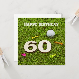 Golf 60th birthday golfer with golf ball Flat Card