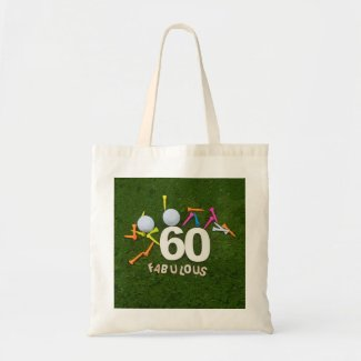 Golf 60th Birthday golfer with golf ball & tees Tote Bag