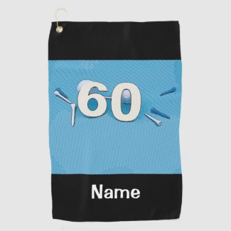 Golf 60th Birthday with golf ball and tee golfer Golf Towel
