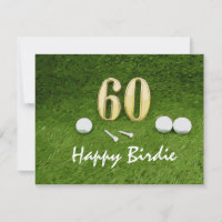 Golf 60th Birthday with golf ball and tee on green Card