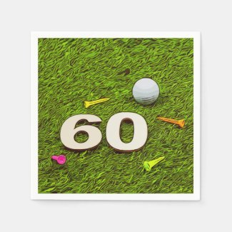 Golf 60th birthday with golf ball tee Paper Napkin