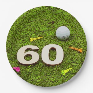Golf 60th birthday with golf ball tee Paper Plate