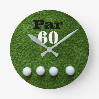Golf 60th Sixty year old birthday for golfer Round Clock