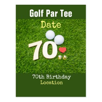 Golf 70th birthday golf ball and beer with love postcard