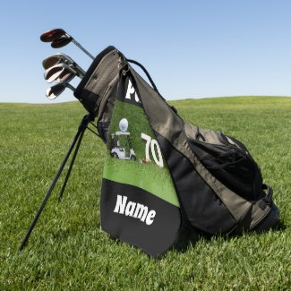 Golf 70th Birthday Par seventy  Golf cart and ball Golf Towel