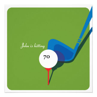 Golf 70th Birthday Party Invitation - Swinging