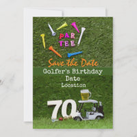 Golf 70th Birthday Party with golf ball tee cart  Invitation