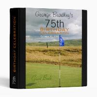 Golf 75th Birthday Celebration Guest Book Binder