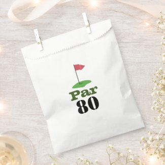 Golf 80th Birdie pole with red flag with word PAR  Favor Bag