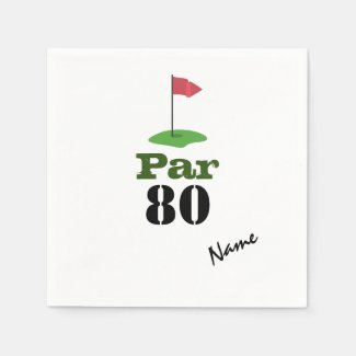 Golf 80th Birdie pole with red flag with word PAR  Napkins