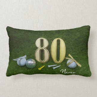 Golf 80th Birthday Birdie golf ball and ribbon Lumbar Pillow